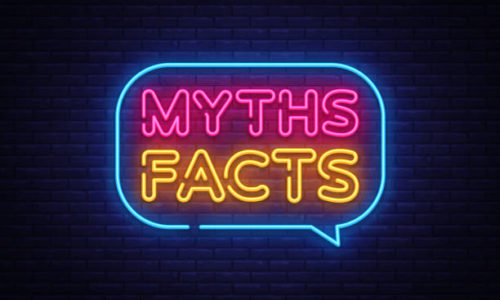 Myths Facts Neon Text Vector. Myths Facts neon sign, design template, modern trend design, night neon signboard, night bright advertising, light banner, light art. Vector illustration.