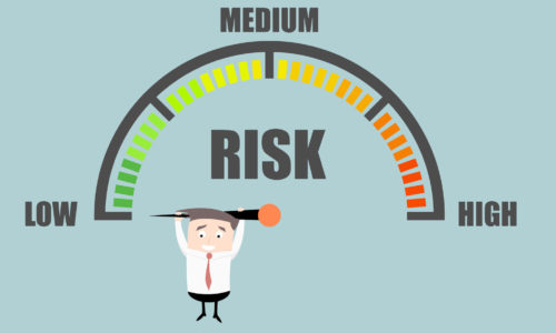 47852557 - detailed illustration of a person hanging on a risk meter,   vector